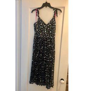 Betsey Johnson Vintage Floral Satin Pleated Dress